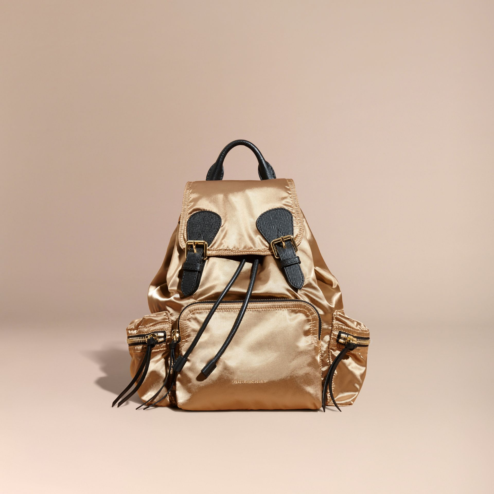 The Medium Rucksack in Two-tone Nylon and Leather Gold/black - gallery image 8