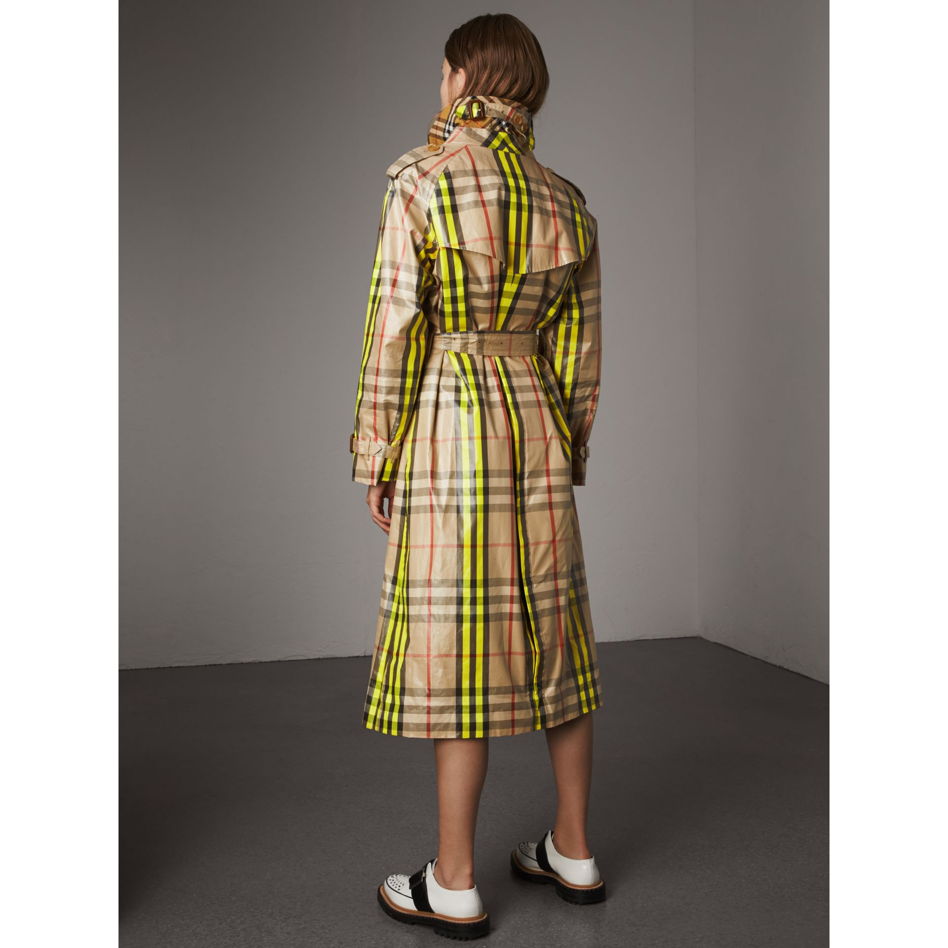 Laminated Check Trench Coat – Online Exclusive in Fluorescent Yellow - Women | Burberry United Kingdom - gallery image 2