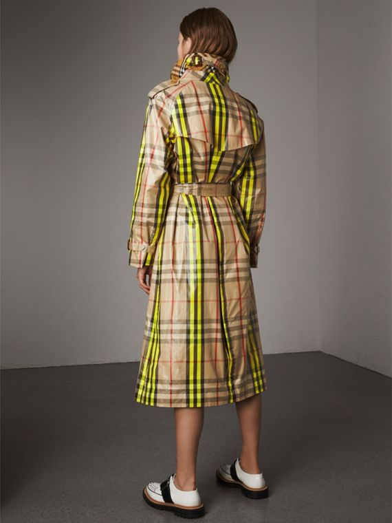 Laminated Check Trench Coat – Online Exclusive in Fluorescent Yellow - Women | Burberry United Kingdom - cell image 2