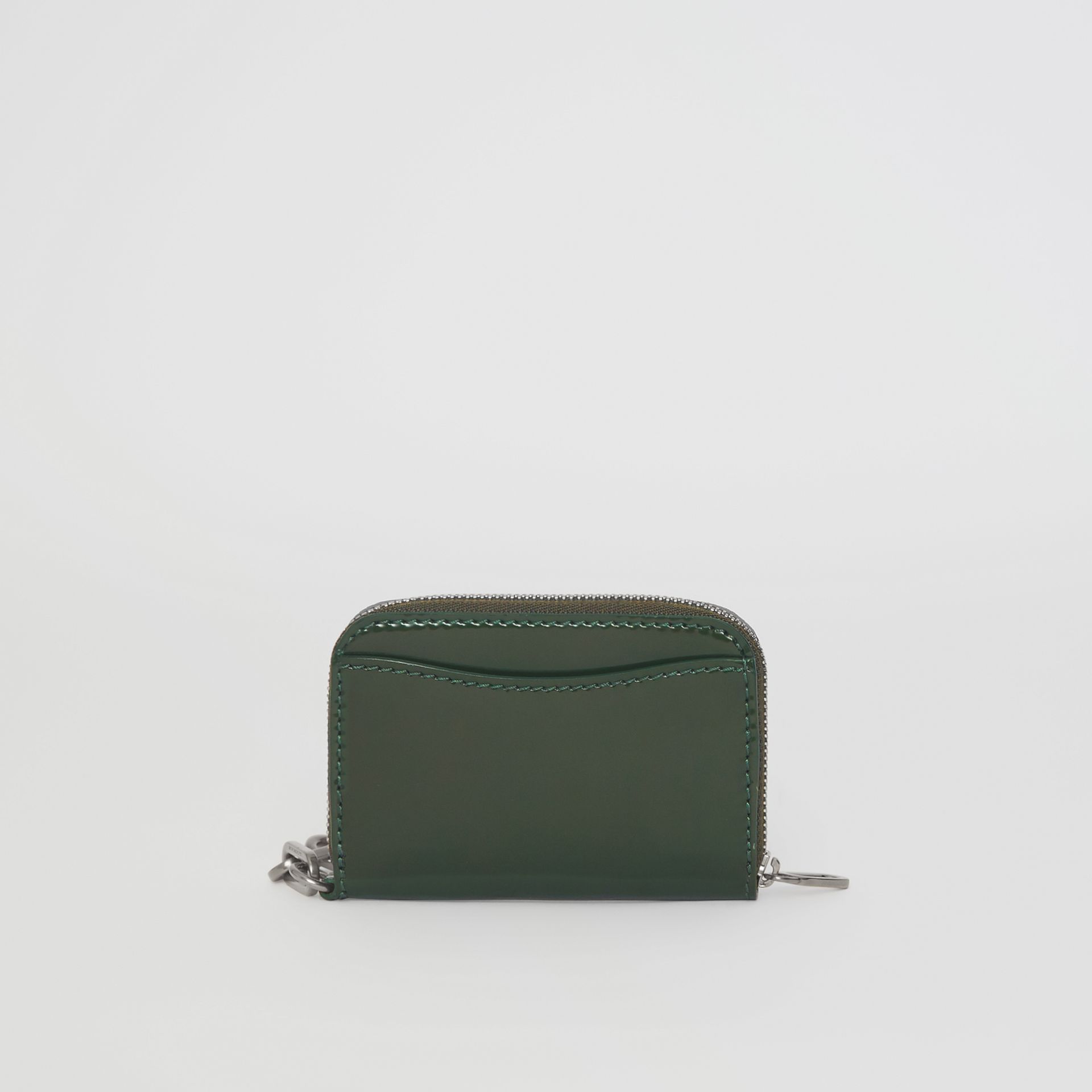 Link Detail Patent Leather Ziparound Wallet in Dark Forest Green - Women | Burberry - gallery image 5