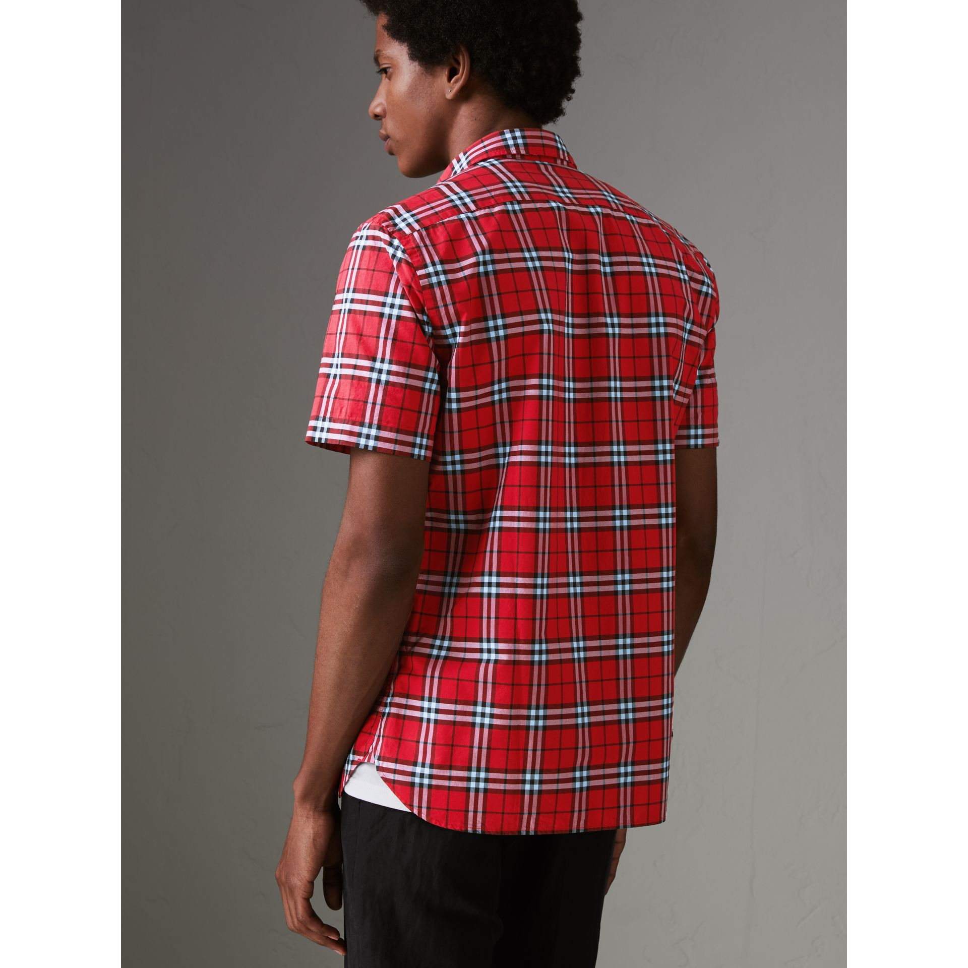 Short-sleeve Check Cotton Shirt in Bright Red - Men | Burberry - gallery image 2