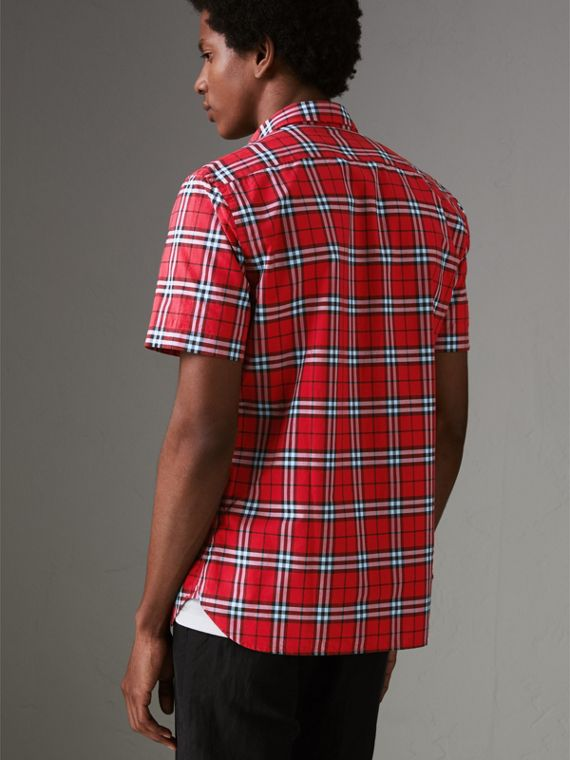Short-sleeve Check Cotton Shirt in Bright Red - Men | Burberry - cell image 2