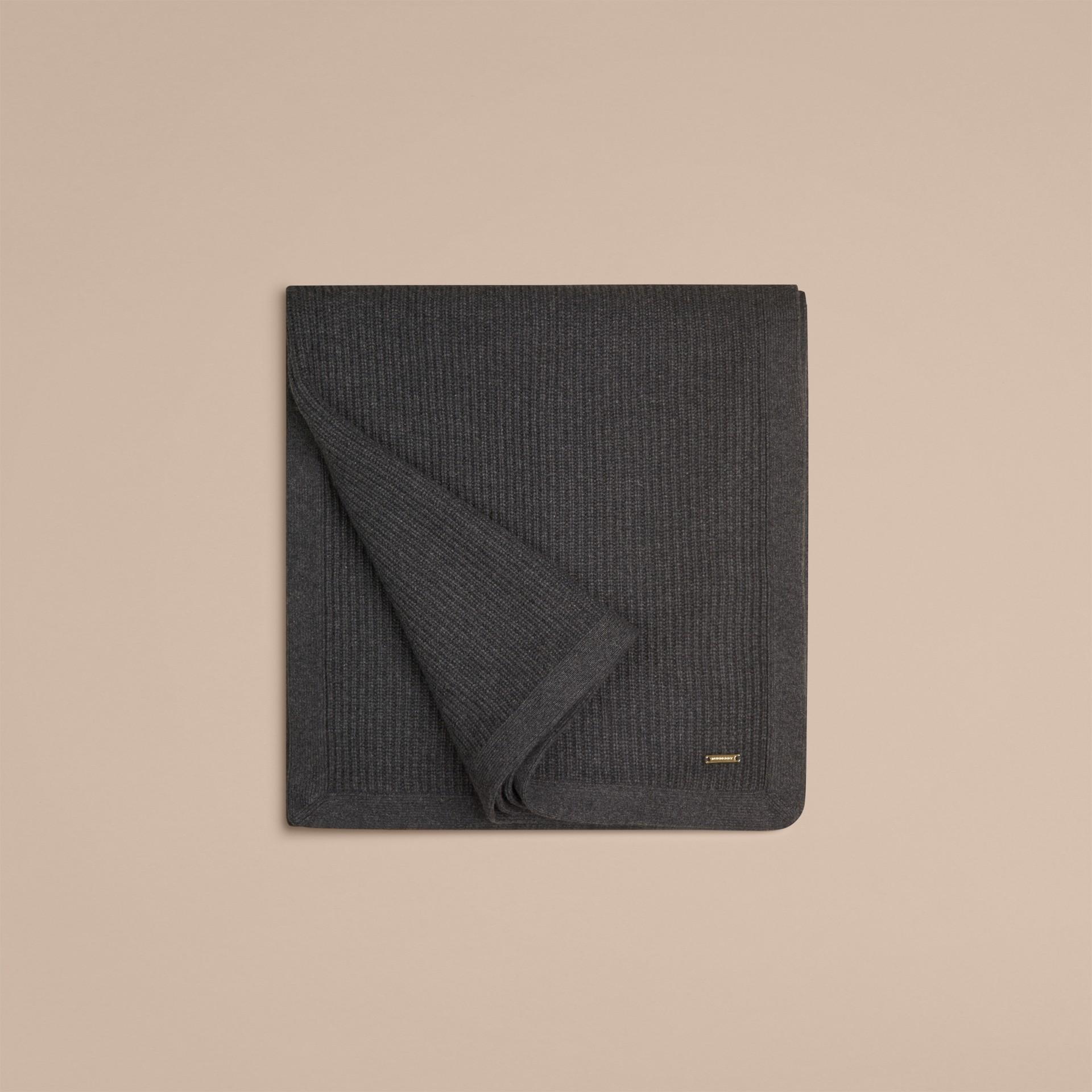 Grigio scuro mélange Coperta in cashmere con lavorazione a costine Grigio Scuro Mélange - immagine della galleria 3