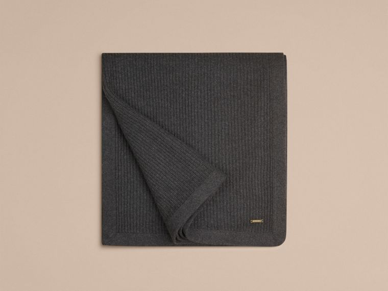 Grigio scuro mélange Coperta in cashmere con lavorazione a costine Grigio Scuro Mélange - cell image 2