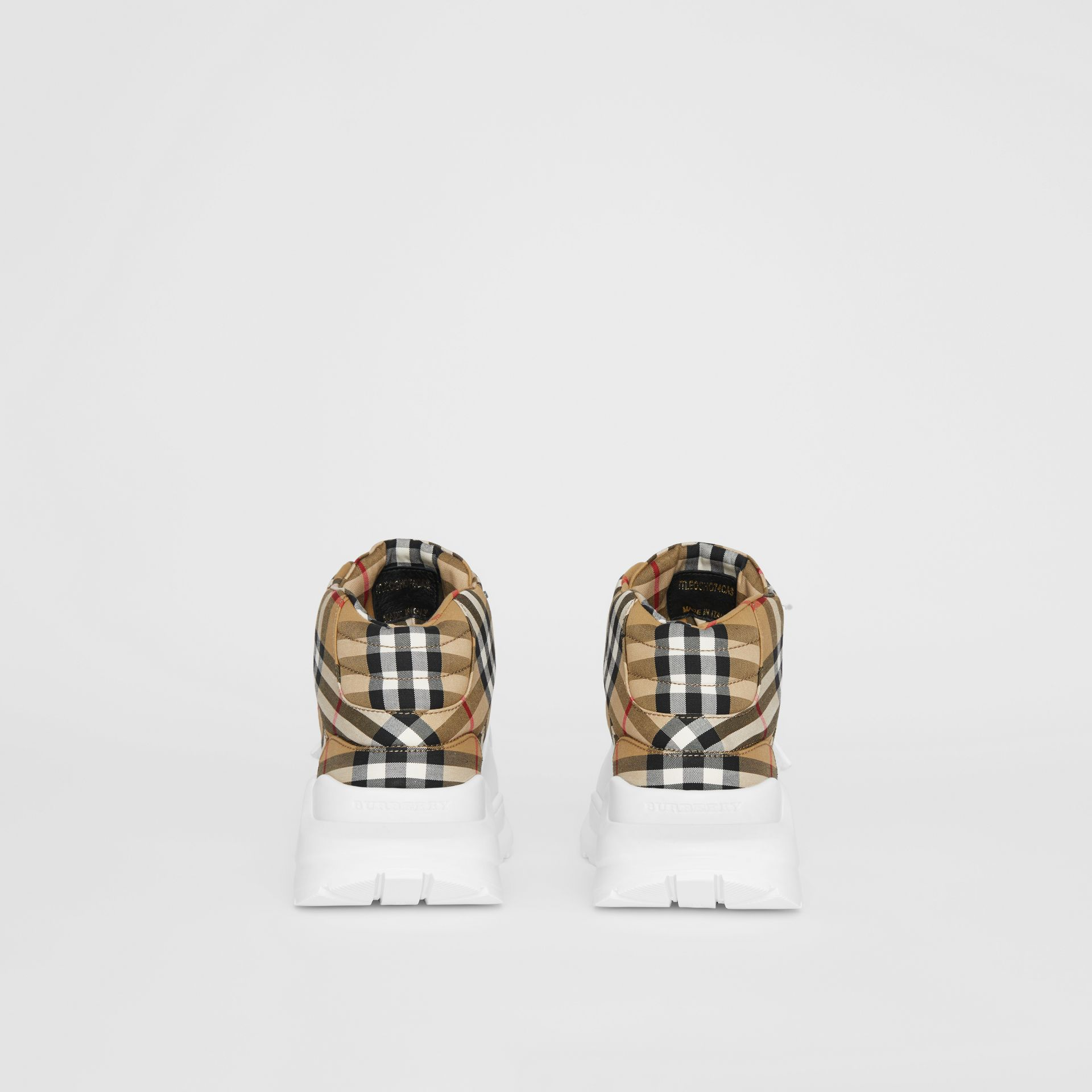 Vintage Check High-top Sneakers in Antique Yellow/optic White - Men | Burberry - gallery image 3