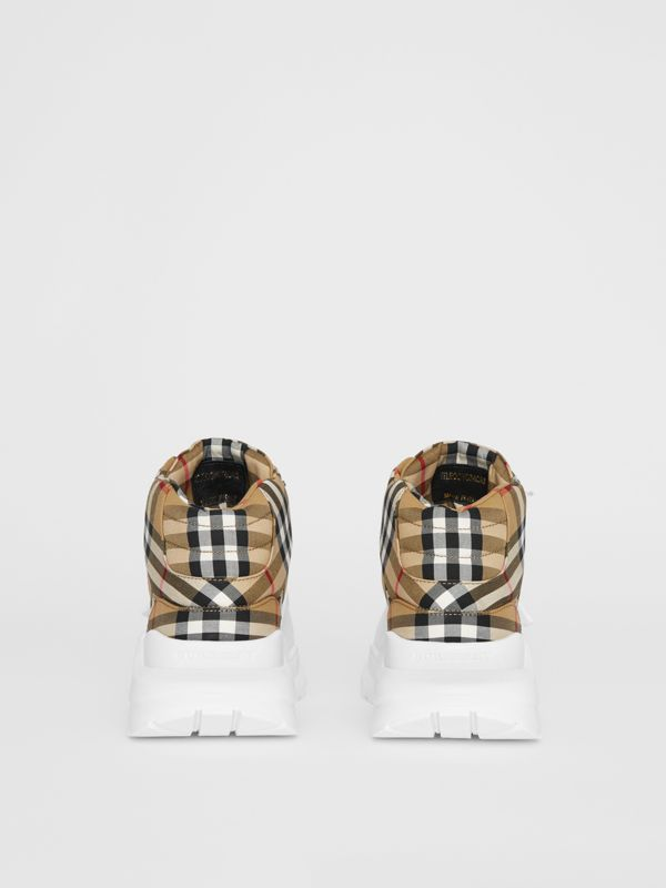 Vintage Check High-top Sneakers in Antique Yellow/optic White - Men | Burberry - cell image 3