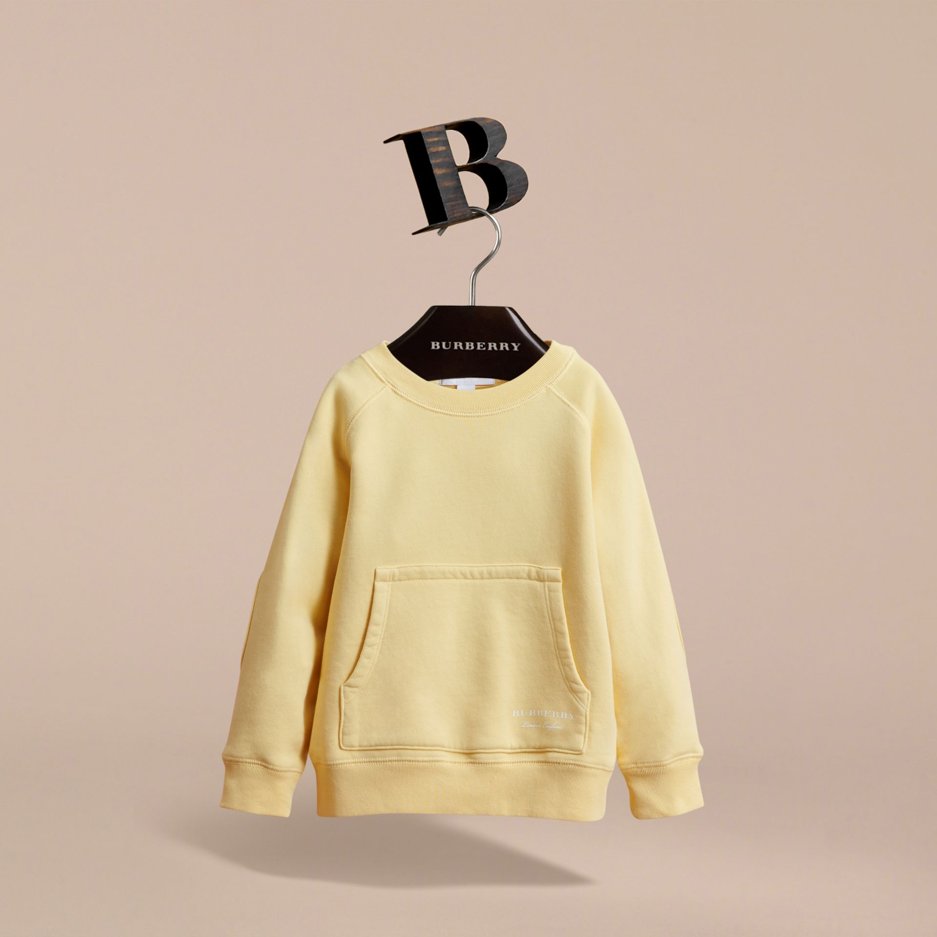Pigment-dyed Cotton Jersey Sweatshirt in Pale Yellow - Boy | Burberry - gallery image 3