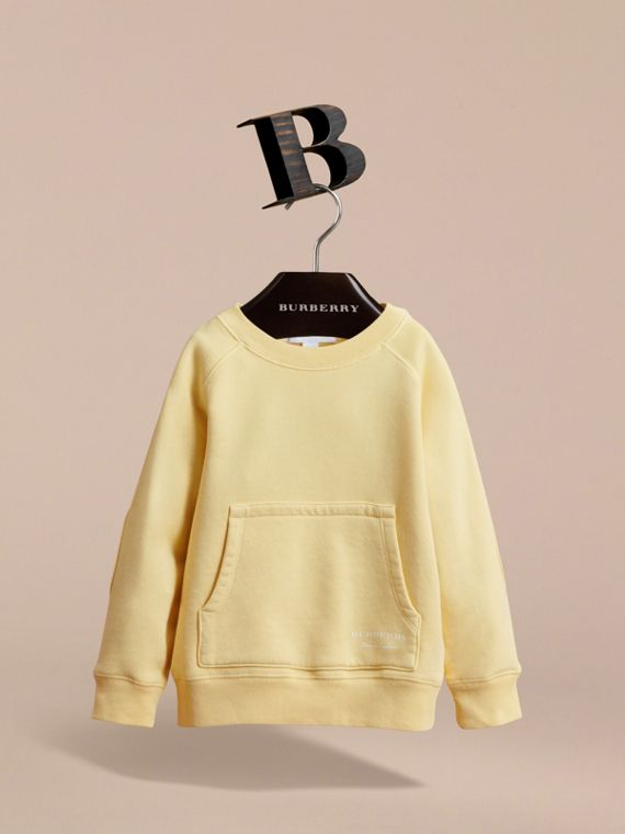 Pigment-dyed Cotton Jersey Sweatshirt in Pale Yellow | Burberry - cell image 2