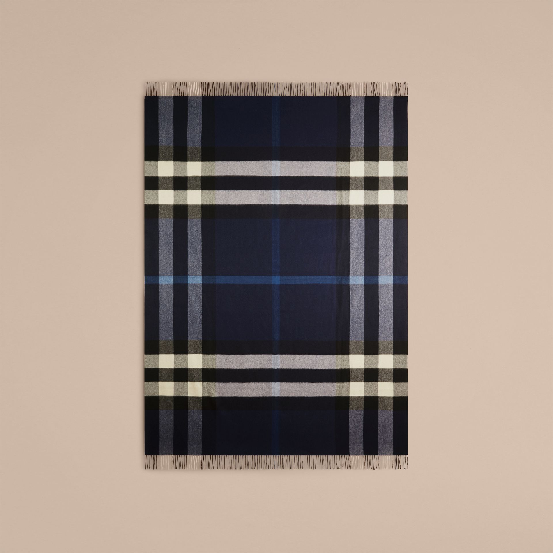 Check Cashmere Blanket in Indigo Blue | Burberry - gallery image 3