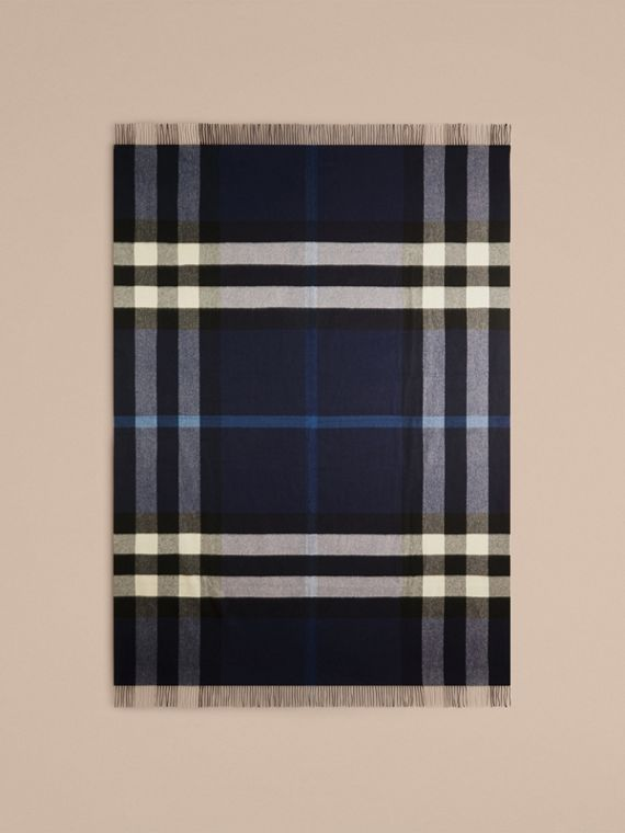 Check Cashmere Blanket in Indigo Blue | Burberry - cell image 2