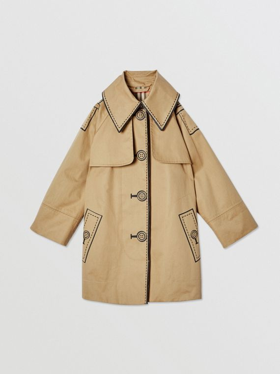 Trompe L'Oeil Cotton Swing Coat in Honey