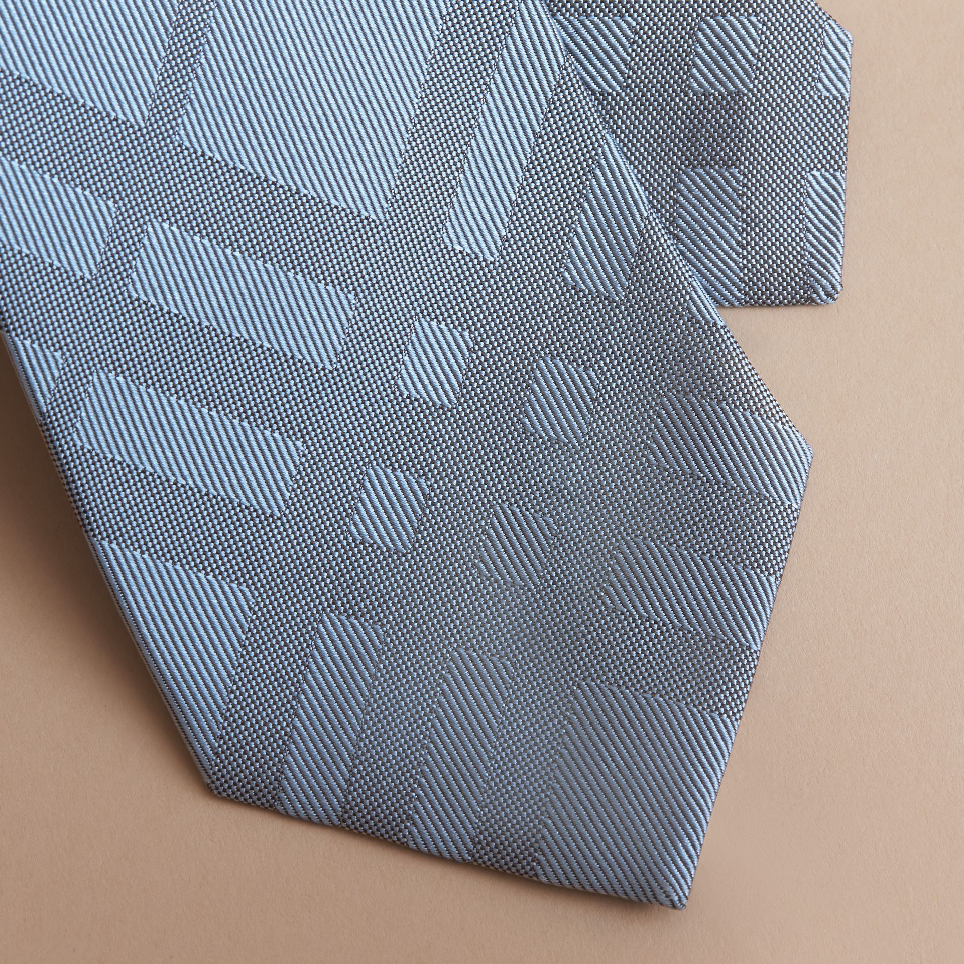 Classic Cut Check Silk Jacquard Tie in Light Blue - Men | Burberry - gallery image 2