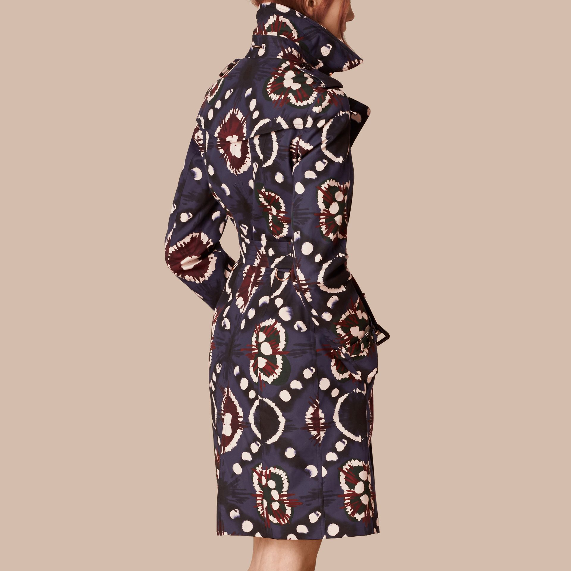 Bright navy Tie-dye Print Cotton Trench Coat - gallery image 2