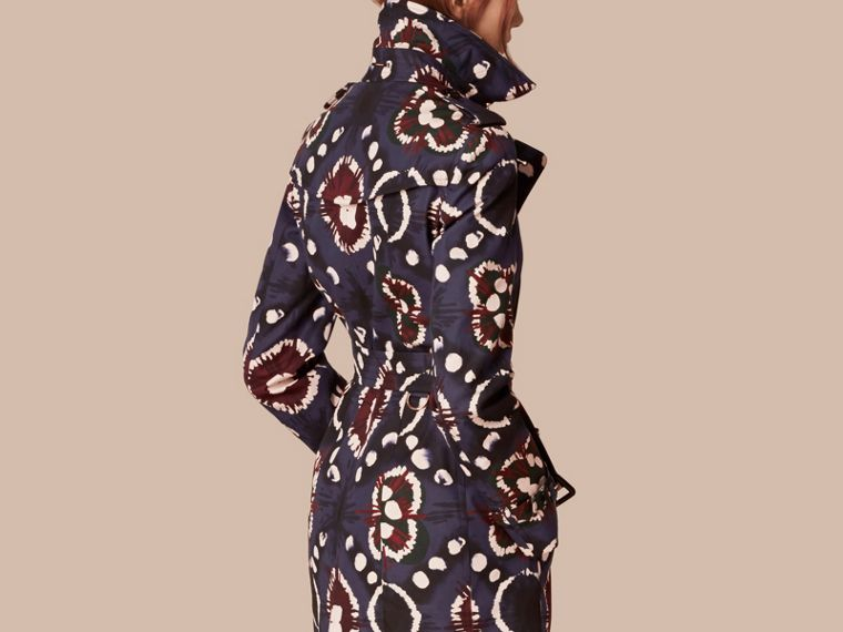 Bright navy Tie-dye Print Cotton Trench Coat - cell image 1
