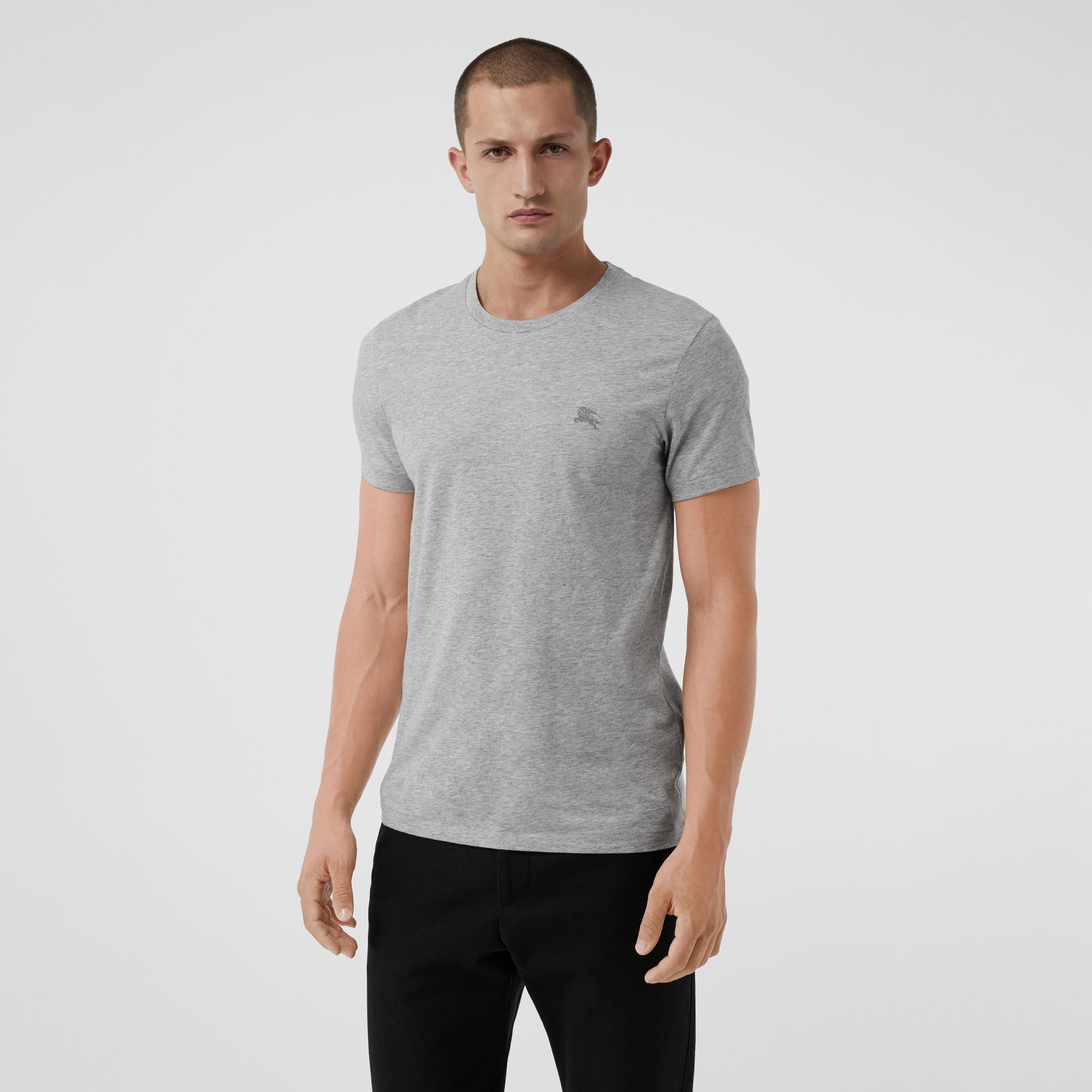 Cotton Jersey T-shirt in Pale Grey Melange - Men | Burberry - gallery image 4
