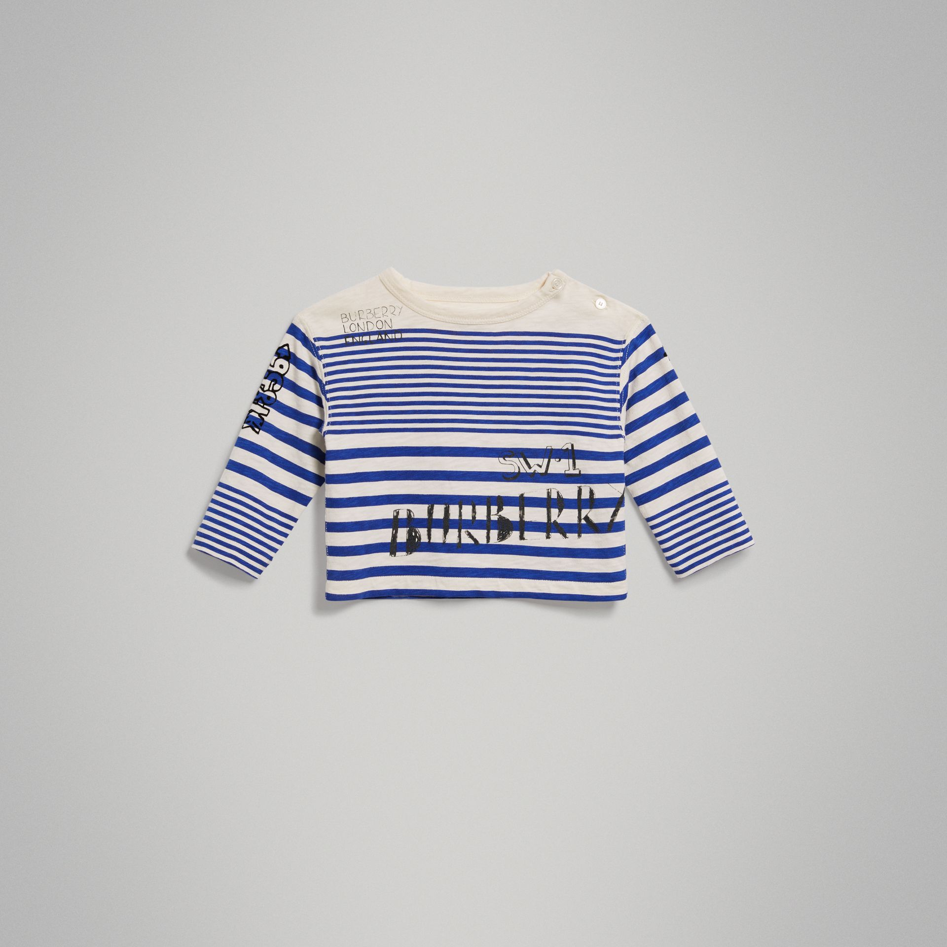 Long-sleeve SW1 Print Cotton Top in Bright Lapis/natural White - Children | Burberry - gallery image 0