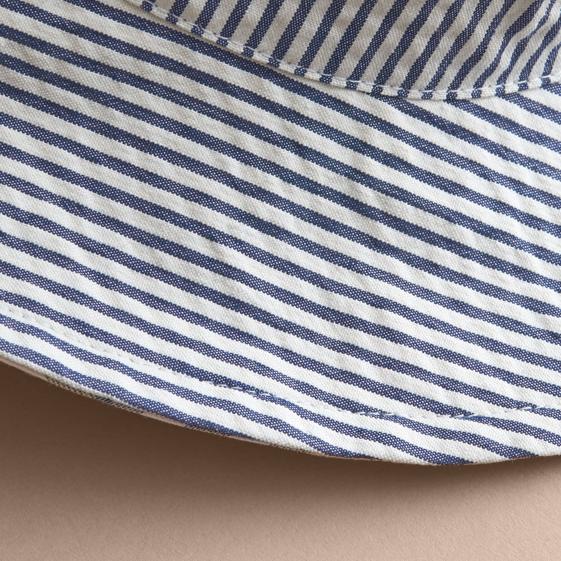 Reversible Stripe and Check Sun Hat in Indigo | Burberry - gallery image 2