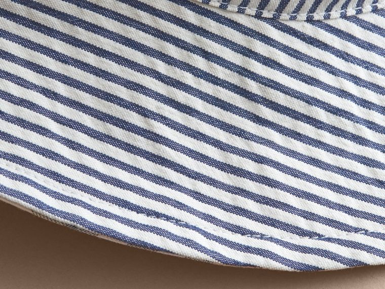 Reversible Stripe and Check Sun Hat in Indigo | Burberry - cell image 1