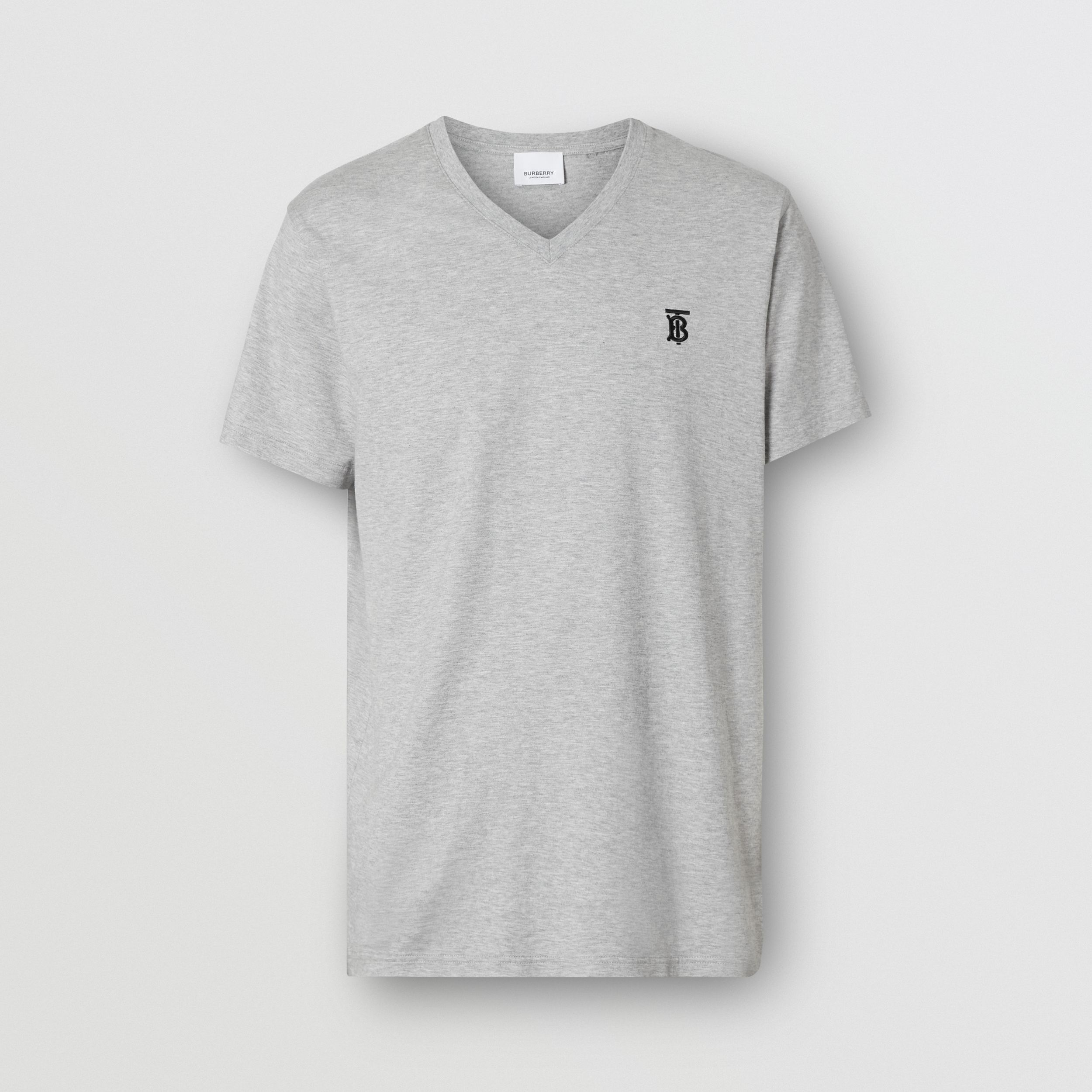Monogram Motif Cotton V-neck T-shirt in Pale Grey Melange - Men | Burberry - 4