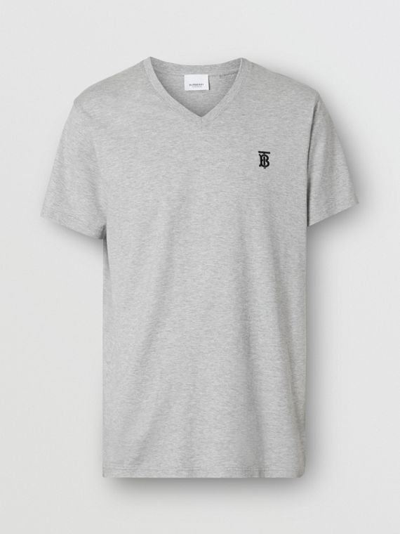 Monogram Motif Cotton V-neck T-shirt in Pale Grey Melange