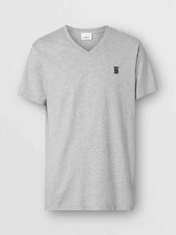 Monogram Motif Cotton V-neck T-shirt in Pale Grey Melange - Men | Burberry United Kingdom - cell image 3
