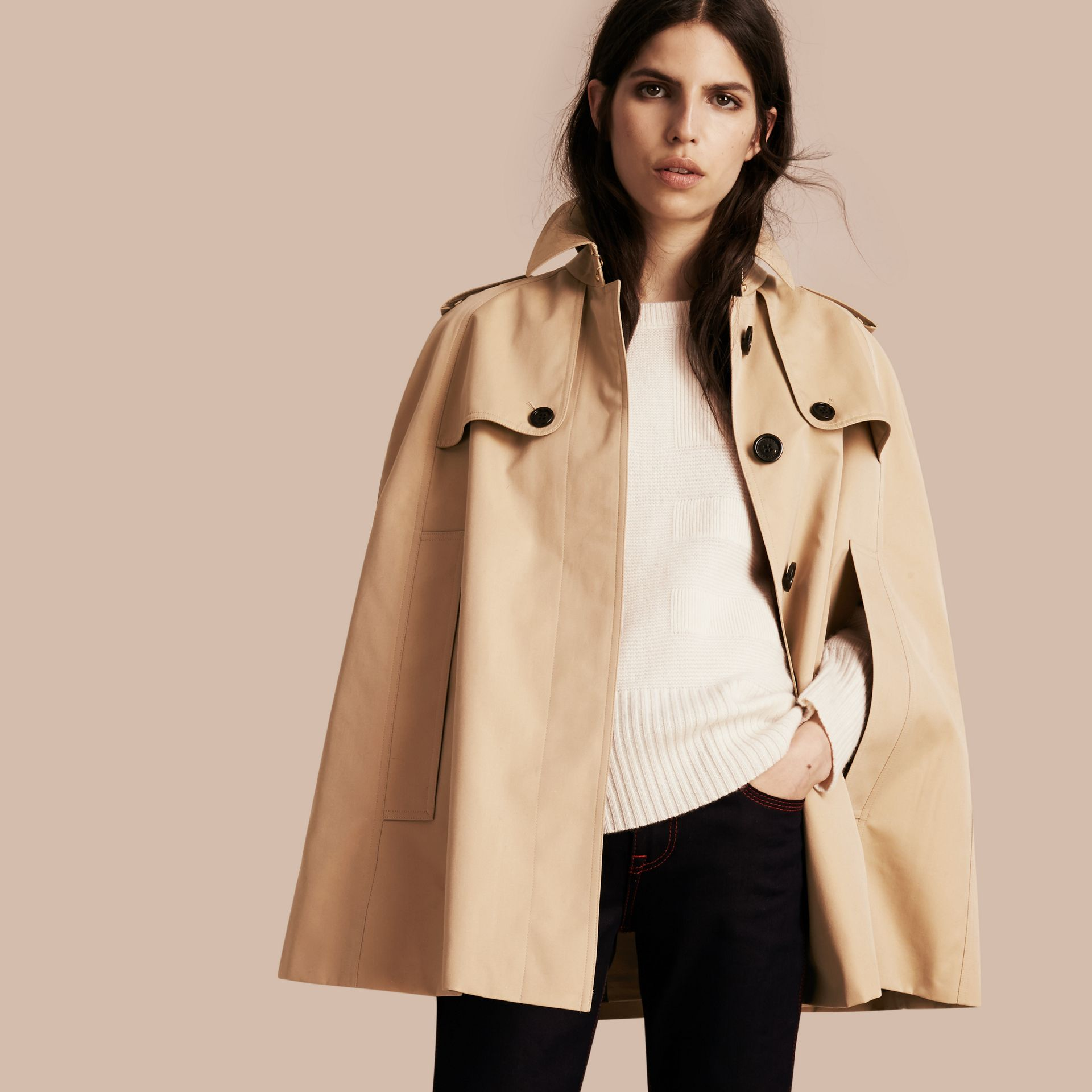Honey Cotton Gabardine Trench Cape - gallery image 1