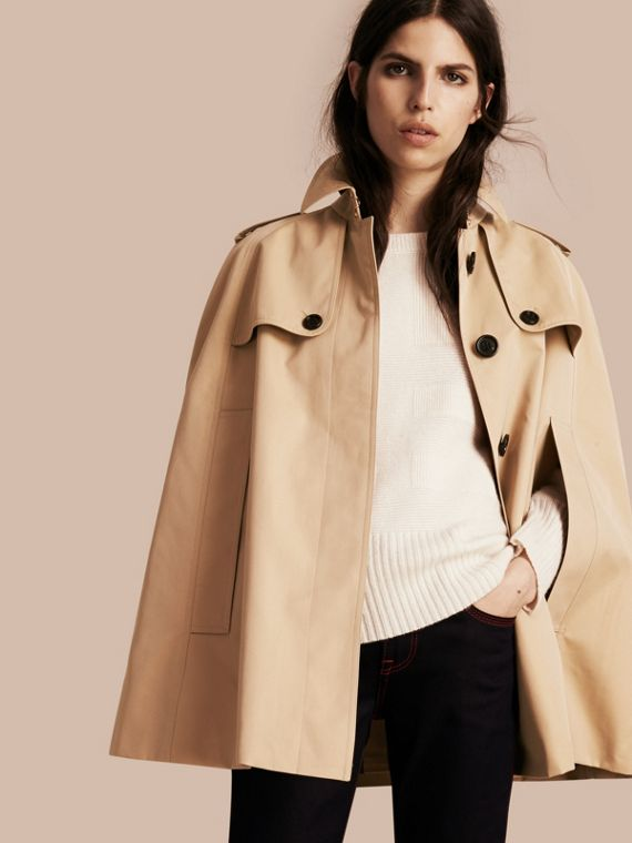 Cotton Gabardine Trench Cape Honey