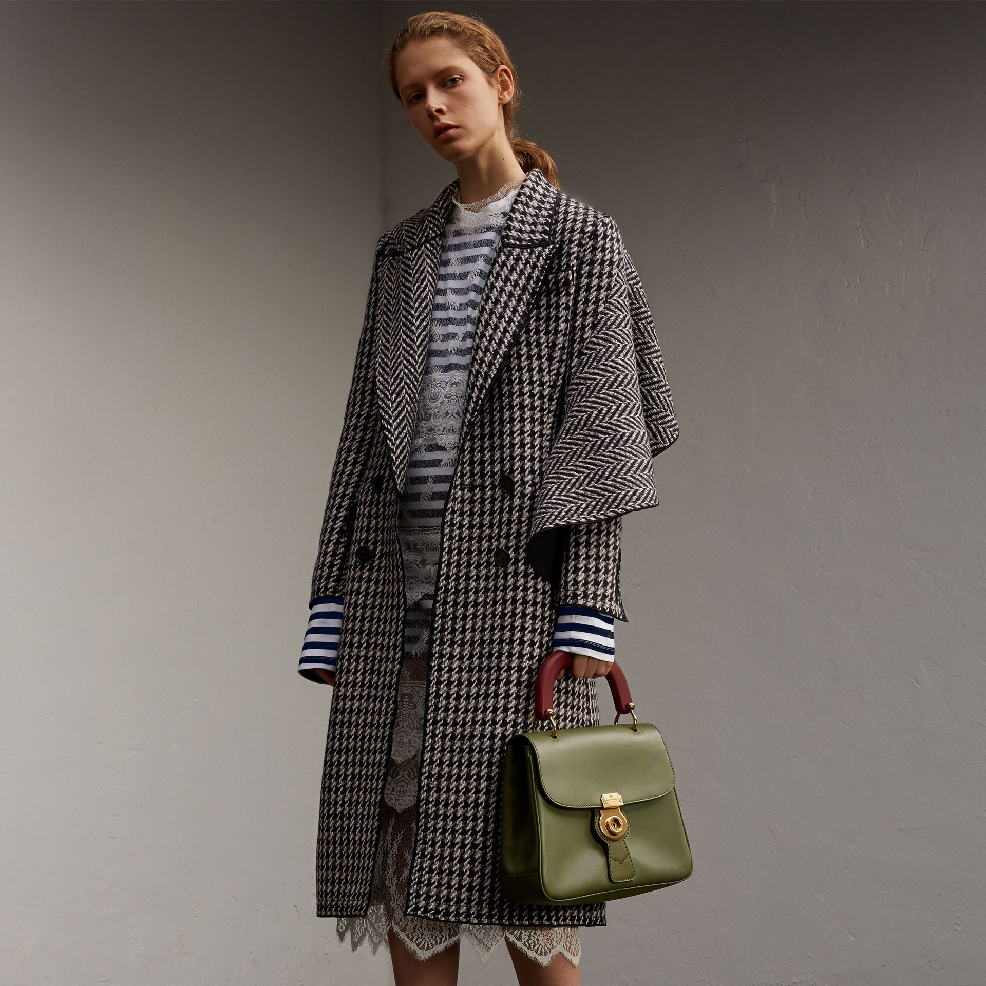 Sculptural Panel Houndstooth Wool A-line Coat - Women | Burberry - gallery image 1
