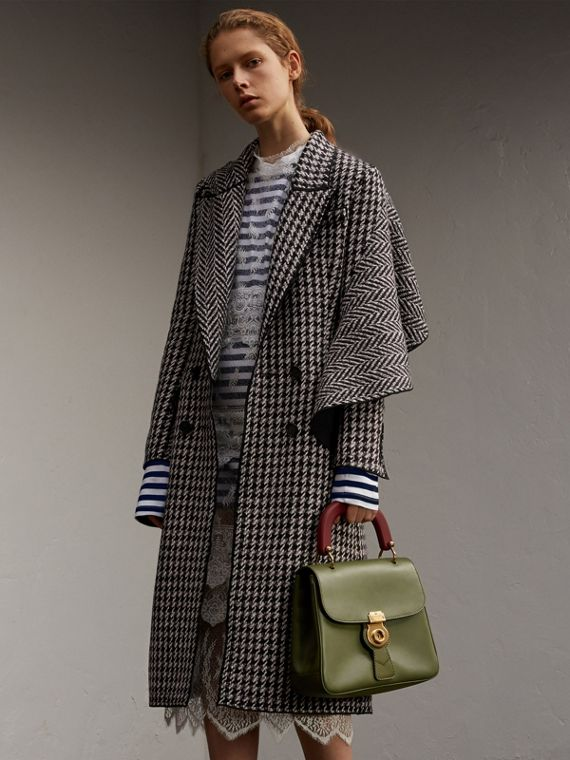Houndstooth Wool A-line Coat with Sculptural Panel