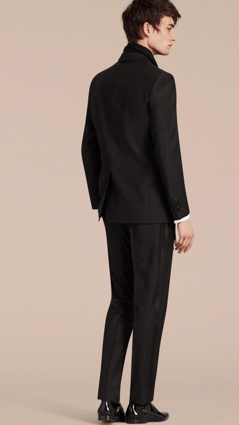 Black Modern Fit Wool Mohair Half-canvas Tuxedo - Image 3