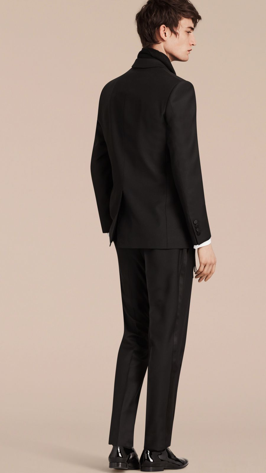 Black Modern Fit Wool Mohair Half-canvas Tuxedo - Image 3