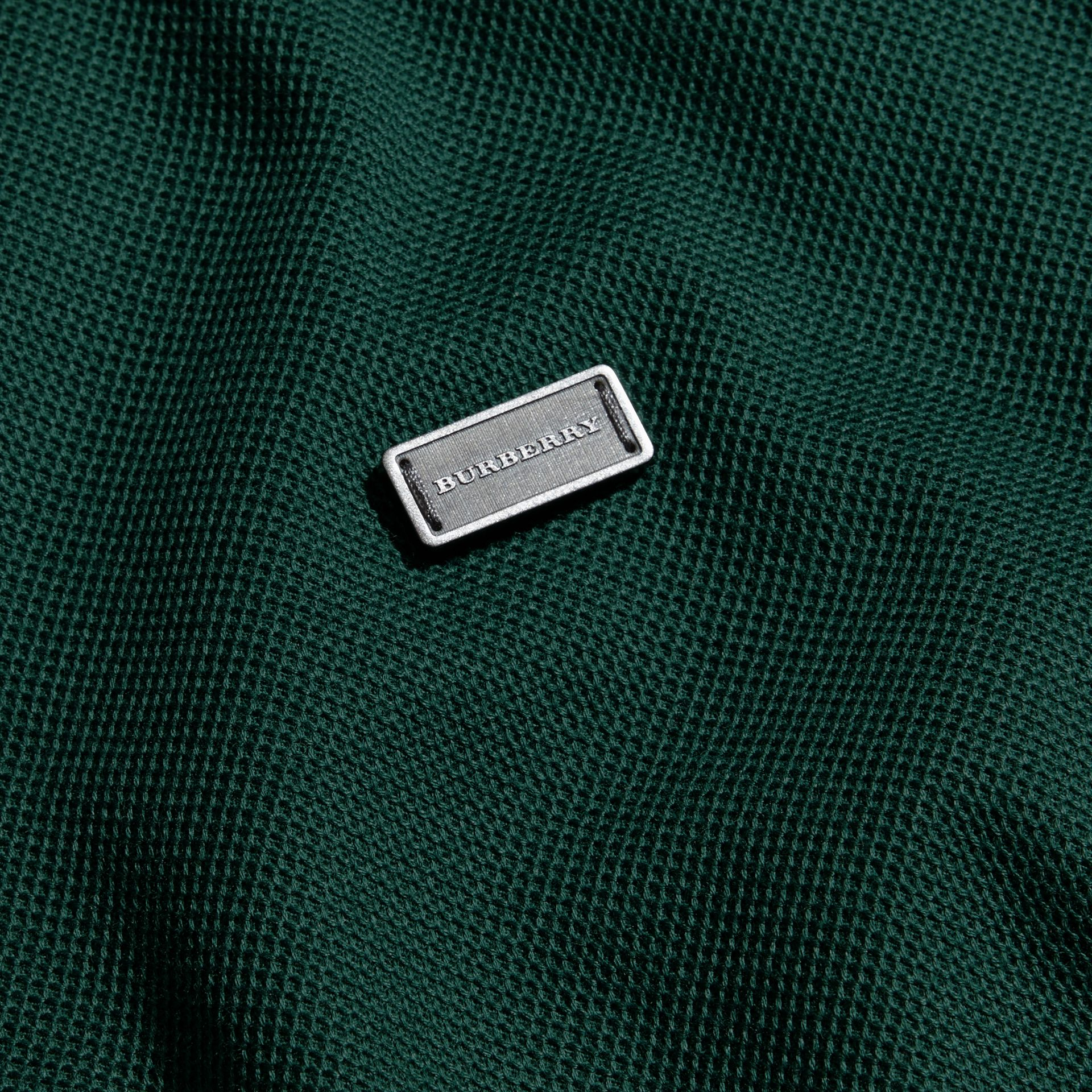 Forest green/black Long-sleeved Cotton Piqué Polo Shirt Forest Green/black - gallery image 2