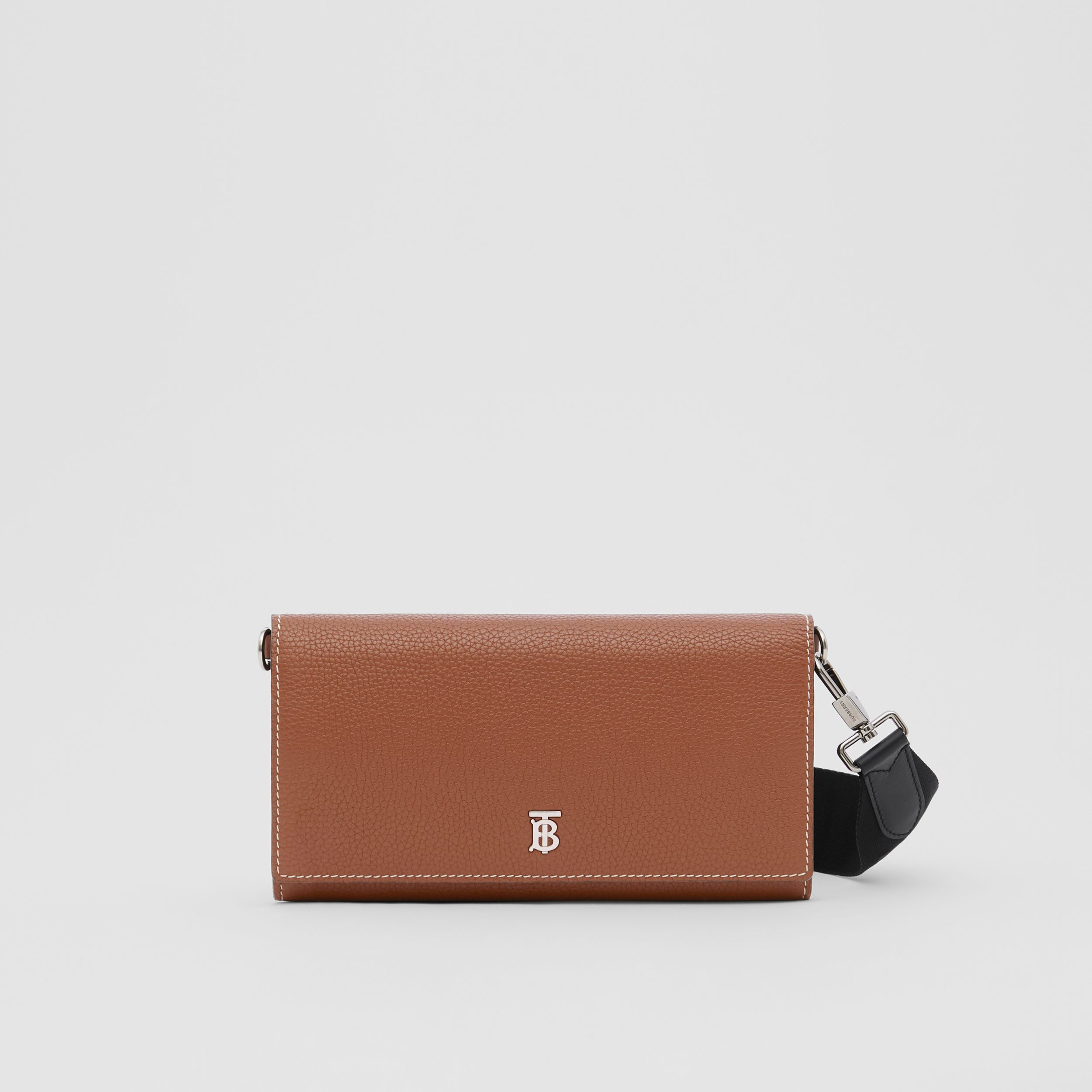 Grainy Leather Wallet with Detachable Strap in Tan | Burberry - 1