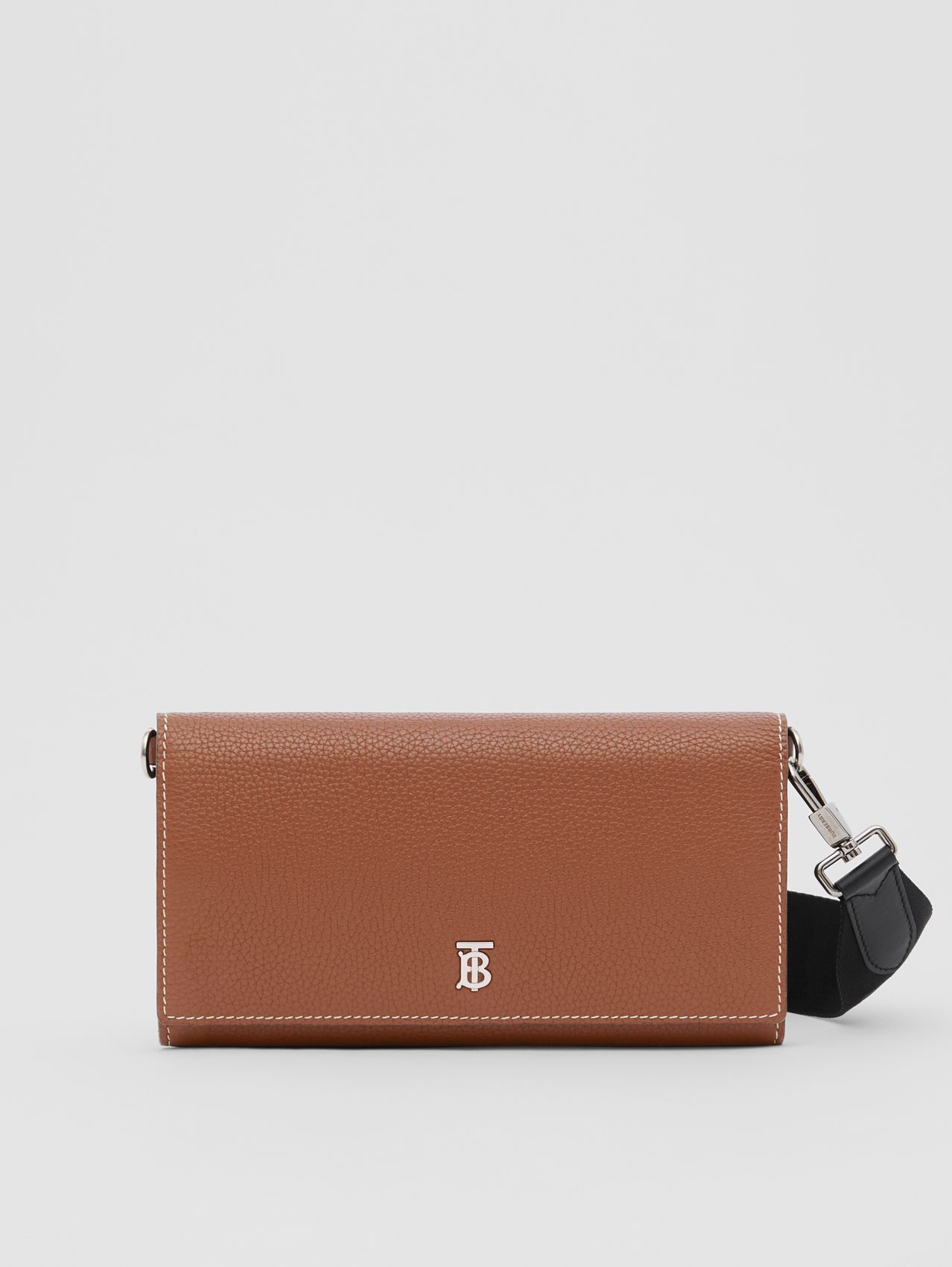 Grainy Leather Wallet with Detachable Strap in Tan