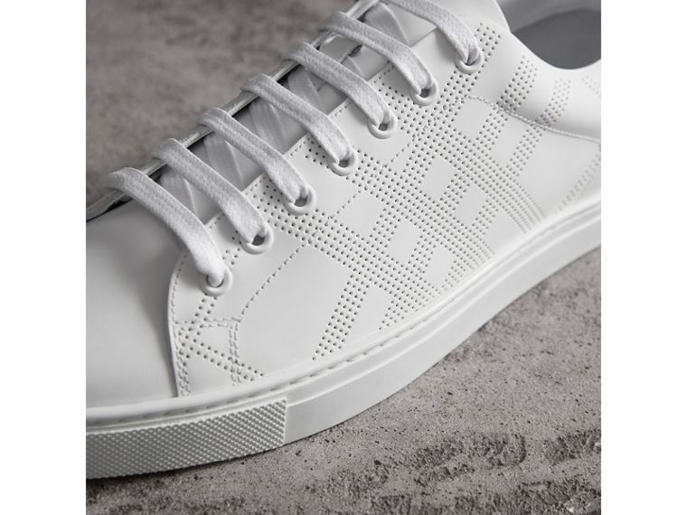 Perforated Check Leather Trainers in Optic White - Men | Burberry - cell image 1