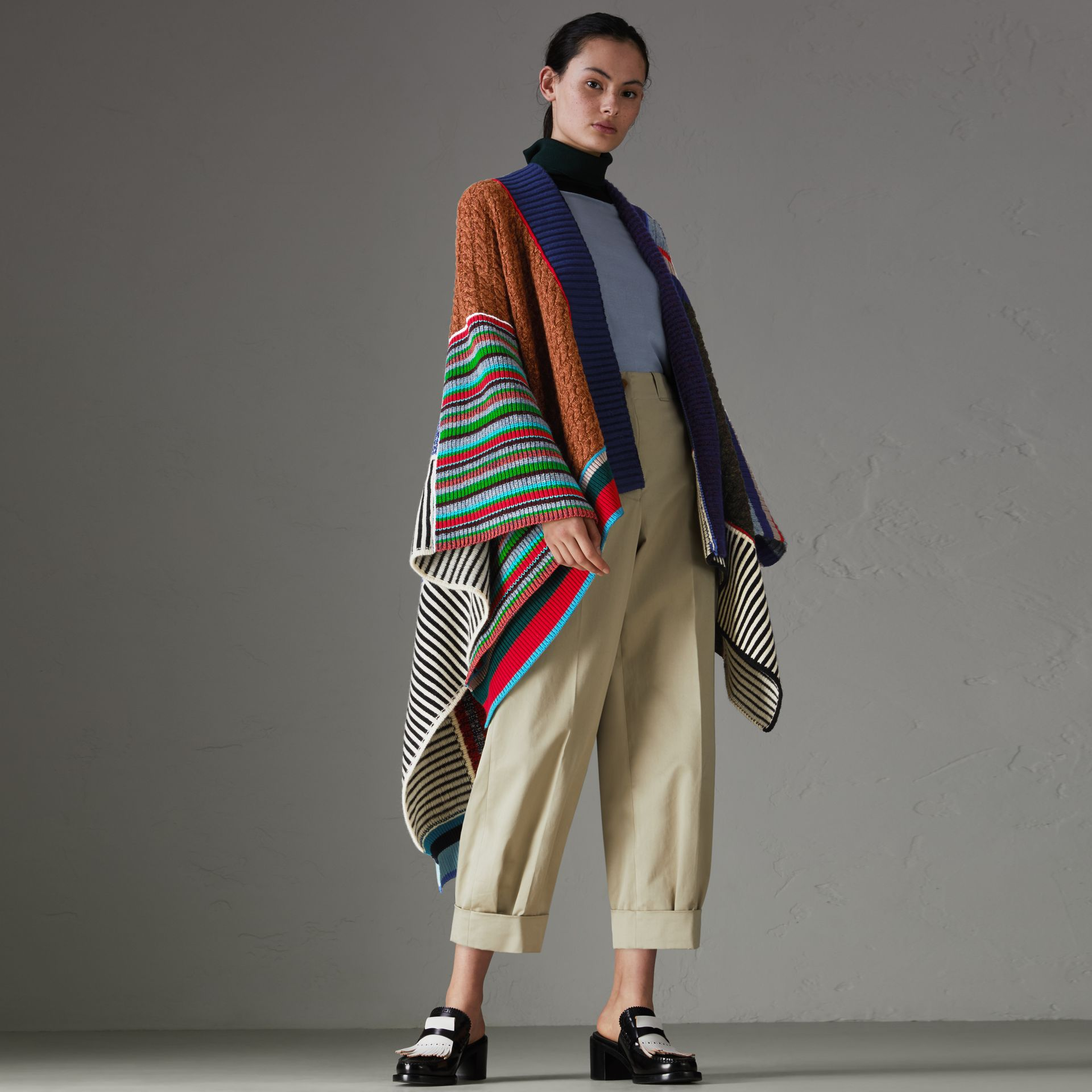 Wool Cashmere Blend Patchwork Poncho in Multicolour - Women | Burberry United States - gallery image 0