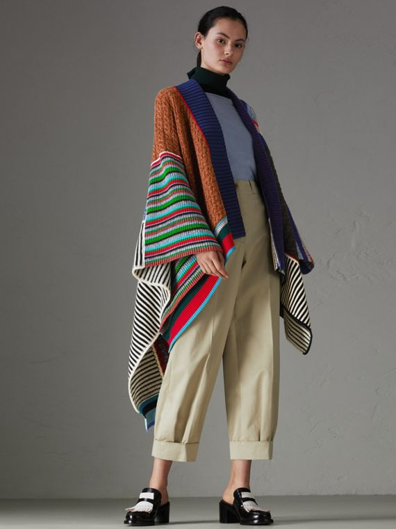 Wool Cashmere Blend Patchwork Poncho in Multicolour
