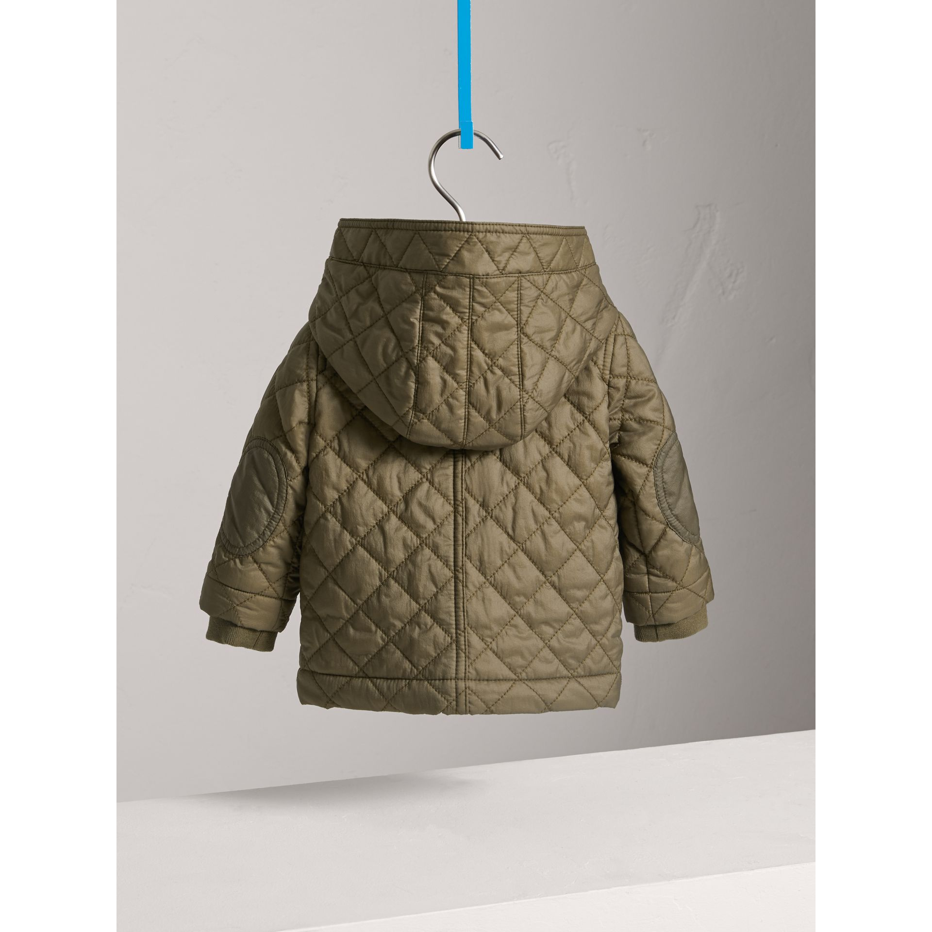 Hooded Diamond Quilted Jacket in Olive | Burberry United Kingdom - gallery image 3