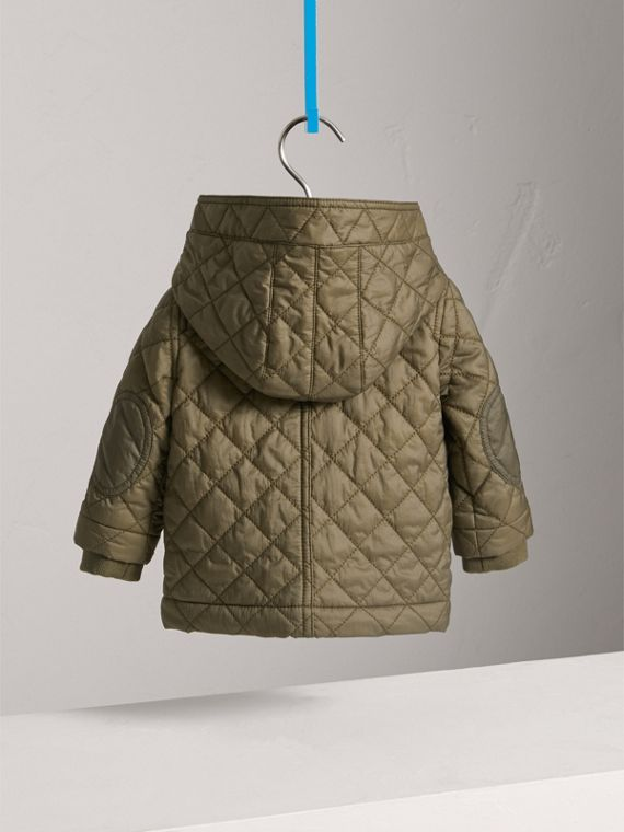 Hooded Diamond Quilted Jacket in Olive | Burberry United Kingdom - cell image 3