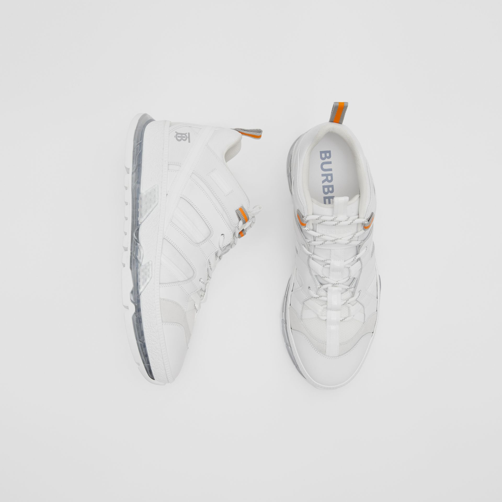 Nylon and Leather Union Sneakers in Optic White - Men | Burberry United Kingdom - gallery image 0