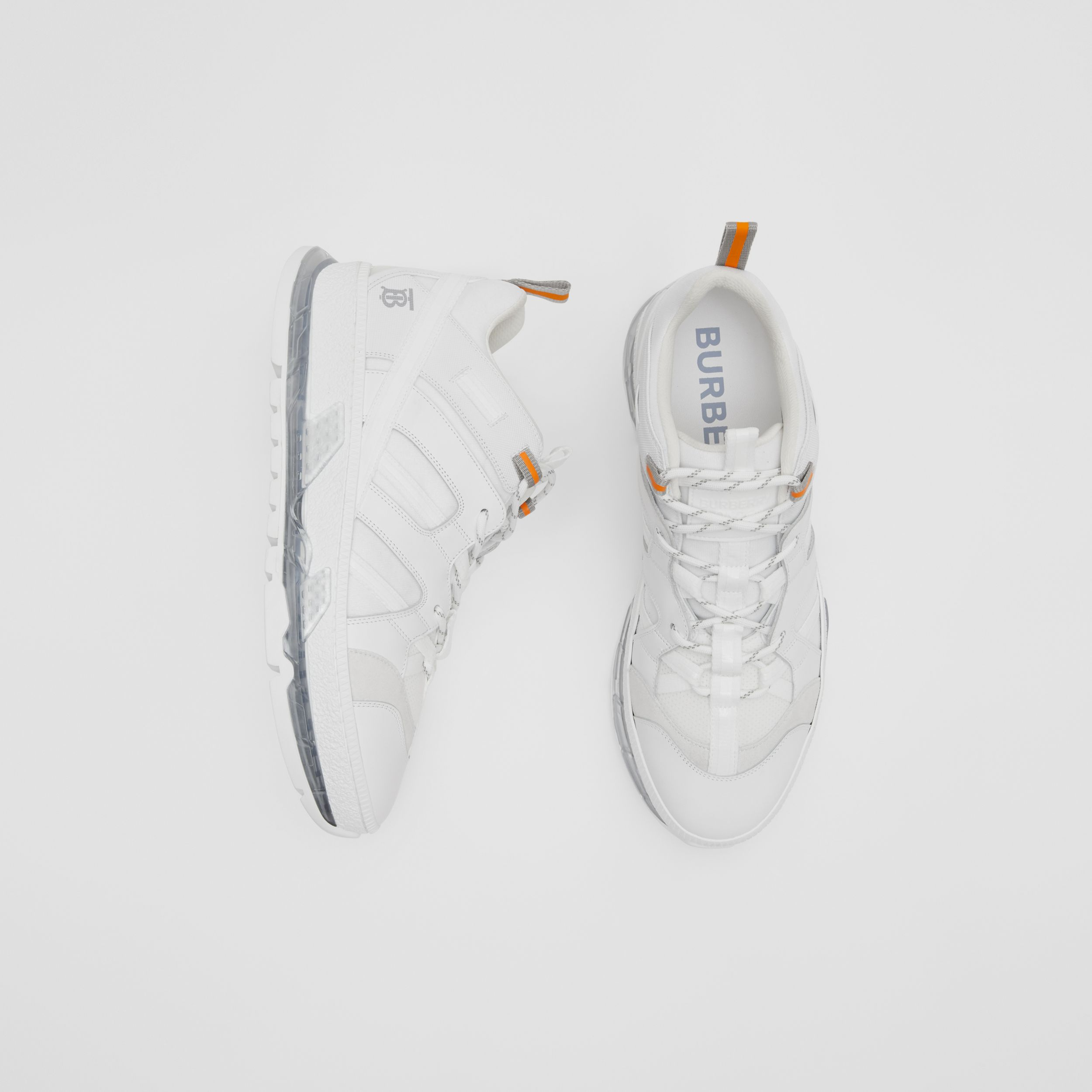 Nylon and Leather Union Sneakers in Optic White - Men | Burberry - 1
