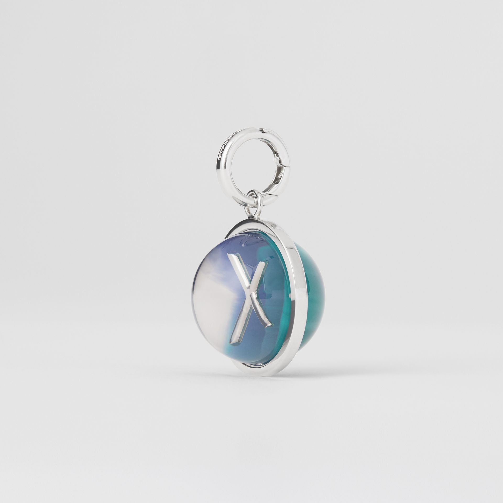 Marbled Resin 'X' Alphabet Charm in Palladio/ocean Blue - Women | Burberry United Kingdom - gallery image 4