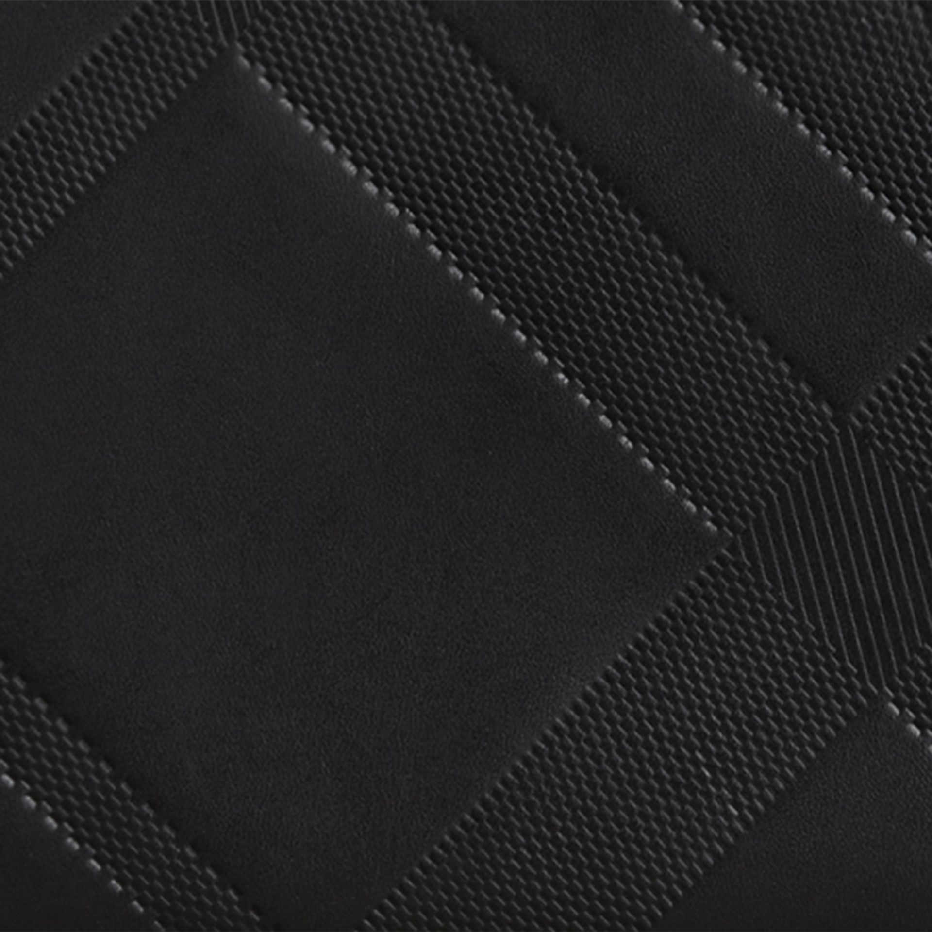 Black Check-embossed Leather Ziparound Wallet Black - gallery image 2