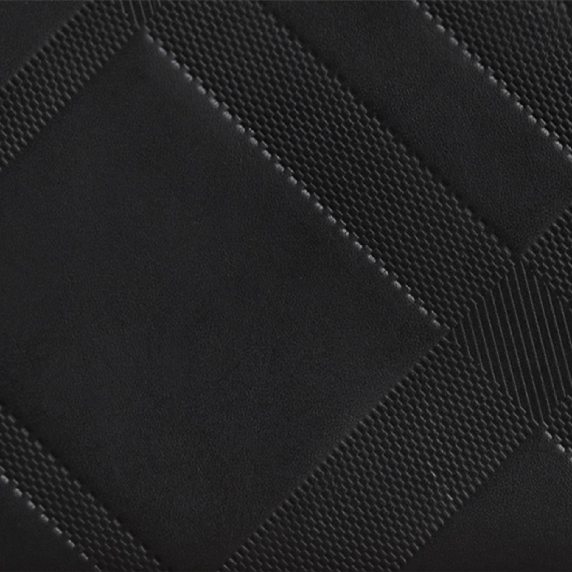 Noir Portefeuille zippé en cuir à motif check estampé Noir - photo de la galerie 2