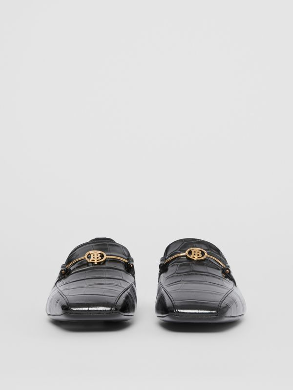 Monogram Motif Embossed Leather Loafers in Black - Women | Burberry - cell image 3