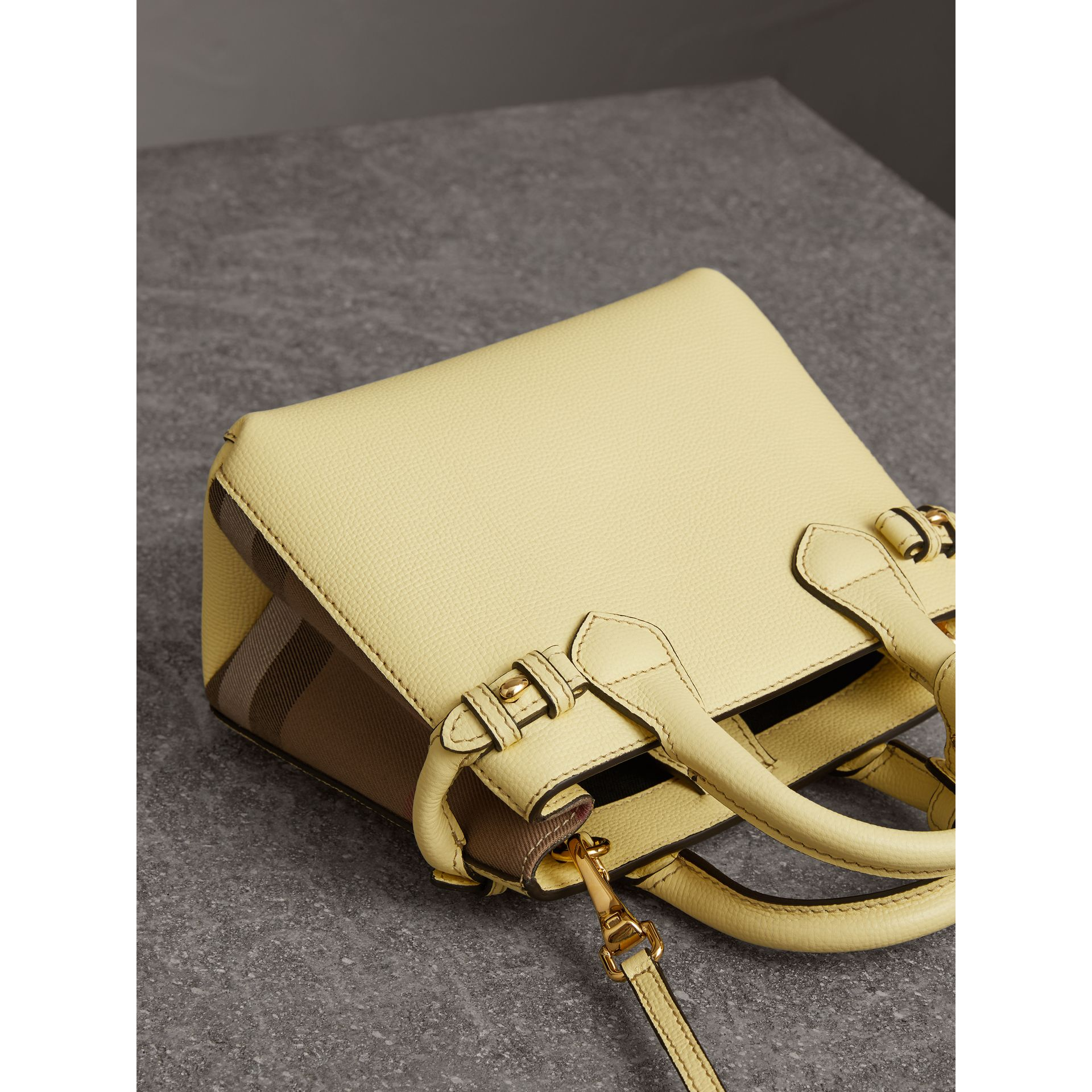 The Baby Banner in Leather and House Check in Camomile Yellow - Women | Burberry Singapore - gallery image 3