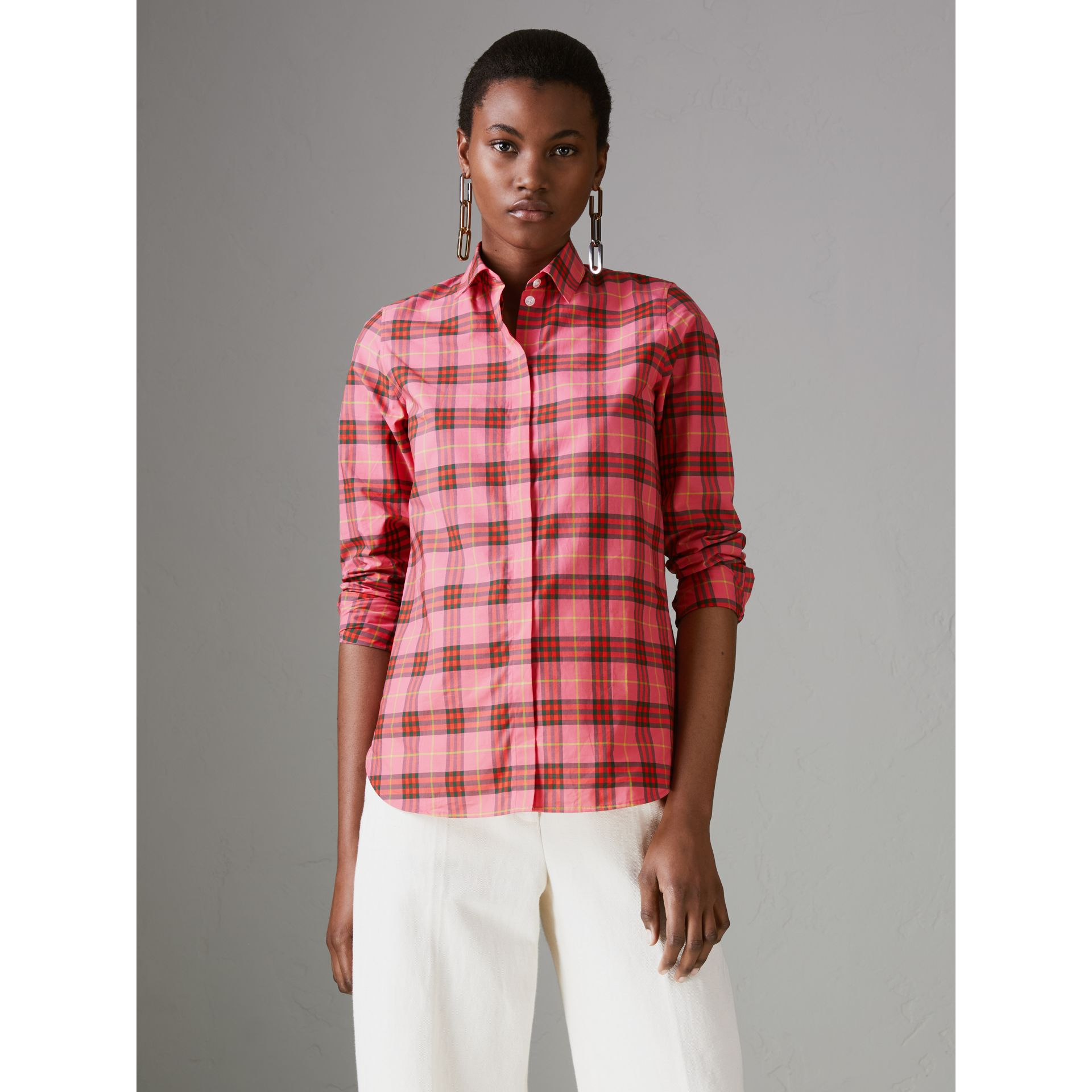 Check Cotton Shirt in Coral Red - Women | Burberry - gallery image 4