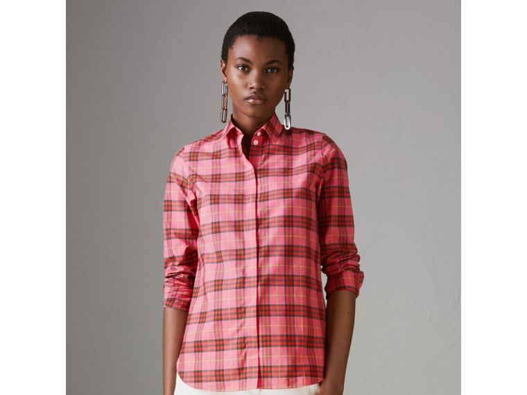 Check Cotton Shirt in Coral Red - Women | Burberry United Kingdom - cell image 4
