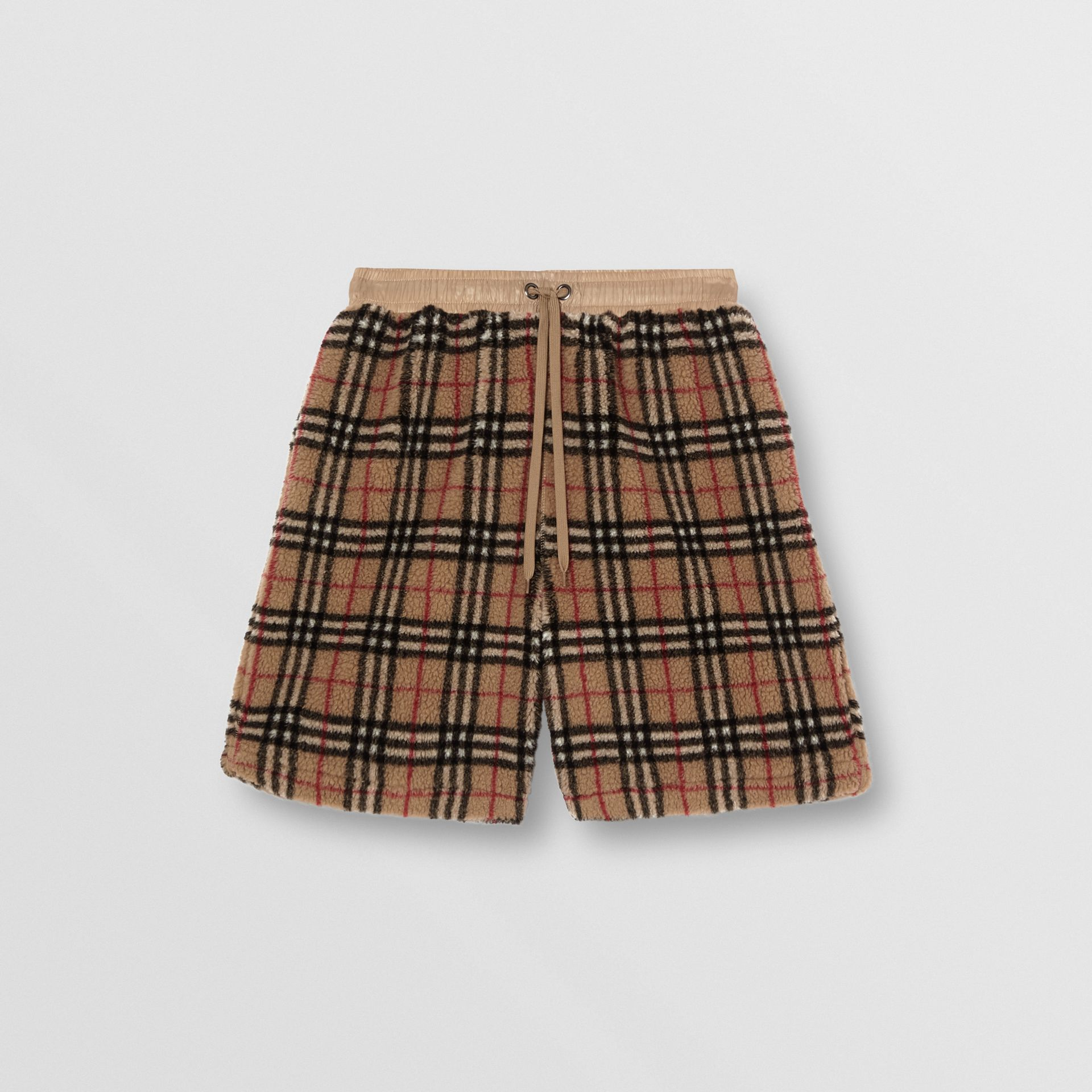 Vintage Check Faux Shearling Drawcord Shorts in Archive Beige - Men | Burberry - gallery image 3