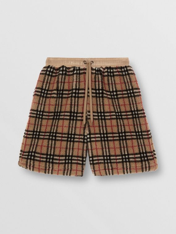 Shorts aus Kunstlammfell im Vintage Check-Design (Vintage-beige)